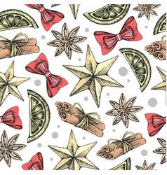 christmas holiday hand drawing seamless pattern vector image