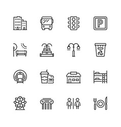 city elements icon set in thin line style vector image