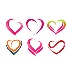 collection love heart valentine logo vector image