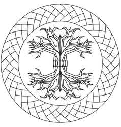 Contour yggdrasil in ornamented circle frame vector