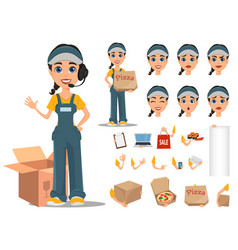 Courier woman character creation set professional vector