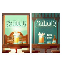 cowboy saloon cartoon poster wild west tavern vector image