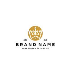 Crown house logo design vector