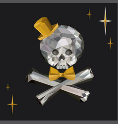 Crystal skull and crossbones with bow tie and top vector