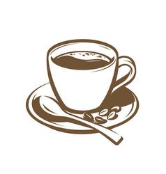cup coffee retro vintage vector image