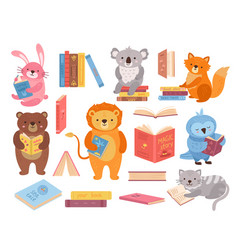 Cute animals with books animal read book stacks vector