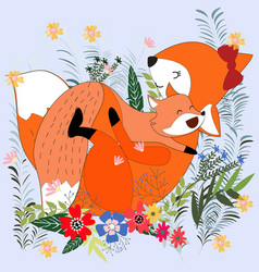 cute cartoon mom and baby fox in the flower garden vector image