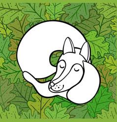 Cute cartoon sleeping fox on oak leaves vector