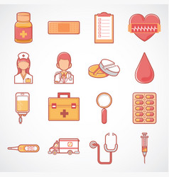 cute health and medicine icon set vector image