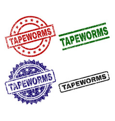 Damaged textured tapeworms seal stamps vector