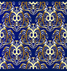 damask gold 3d seamless pattern vector image