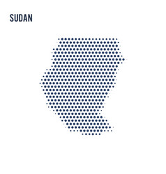 dotted map of sudan isolated on white background vector image