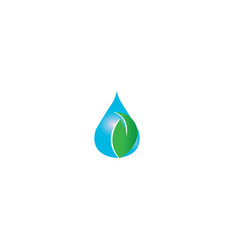 drop of water with a green leaf for logo design vector image