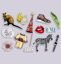 Fashion summer travel colorful items sticker set vector