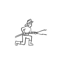 fireman spraying water hand drawn sketch icon vector image