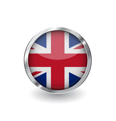 flag of united kingdom button with metal frame vector image