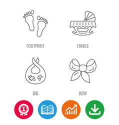 Footprint cradle and dirty bib icons vector