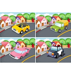 Four scenes of neighborhood with car on the road vector