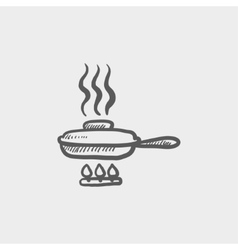 Frying pan with cover sketch icon vector