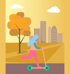 Girl riding kick-scooter on vector