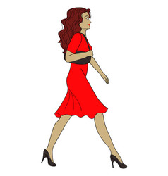 Girl walks hand drawing vector