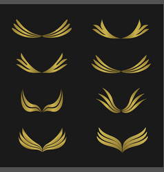 Golden wings emblem vector