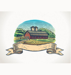 graphical a countryside landscape with farm vector image
