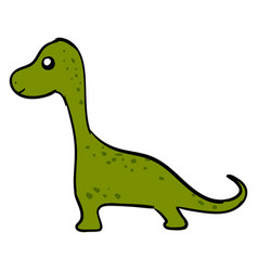 green cute dinosaur on white background vector image
