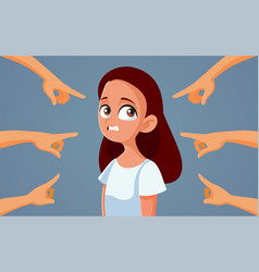 Guilty teen girl facing accusations vector
