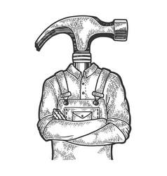 hammer head worker sketch engraving vector image