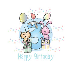 Happy birthday with candle and cute animals vector