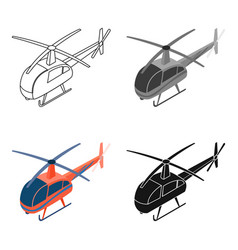Helicopter icon in cartoon style isolated on white vector