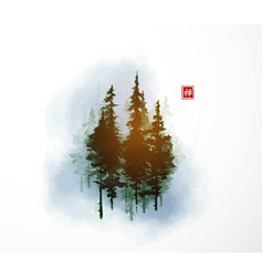 high green pine trees in blue fog traditional vector image