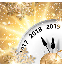 holiday new year 2019 banner with clock vector image