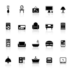 Home furniture icons with reflect on white vector image
