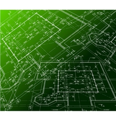 House plan on green background blueprint vector image