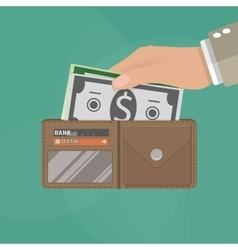 Human hands holding opened wallet vector