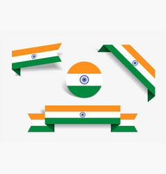 indian flag stickers and labels vector image