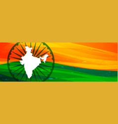 Indian map and flag banner design with text space vector