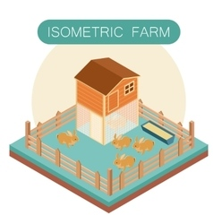 Isometric farm house for rabbits vector