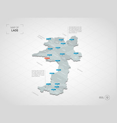 isometric laos map with city names and vector image