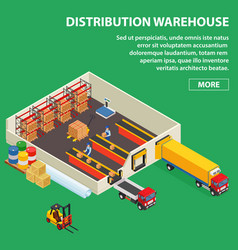 large distribution warehouse with workers loading vector image