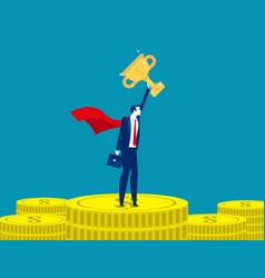 leader man stand on gold coins concept business vector image
