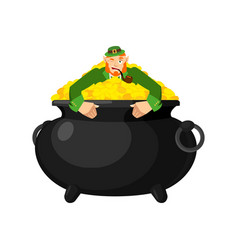 leprechaun in pot gold dwarf with red beard and vector image