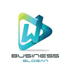 Letter w media logo vector
