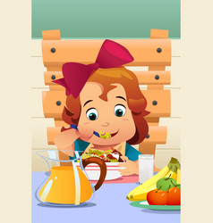 little girl eating salad vegetables vector image