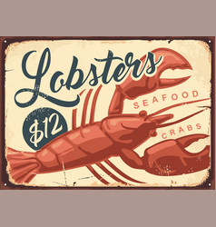 lobsters and crabs vintage seafood restaurant sign vector image
