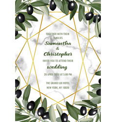 Luxury marble wedding invitation card with olive vector