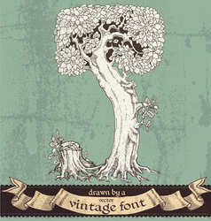 Magic grunge forest hand drawn by vintage font - J vector