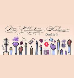 Makeup artist banner beauty salon background vector